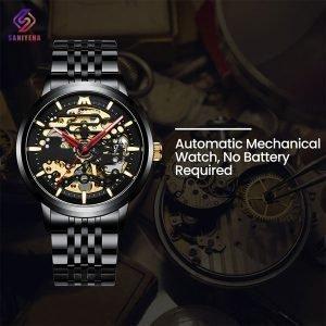 ساعت مچی اتوماتیک عقربه ای مردانه مگالیت مدل 8204-BLK