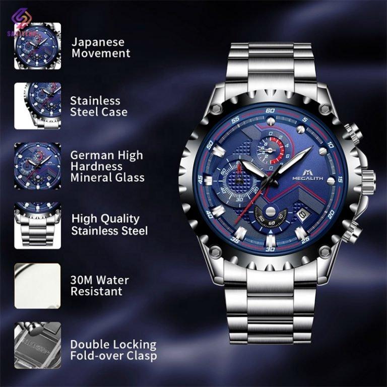 ساعت مچی عقربه ای مردانه مگالیت مدل 0074-sblu
