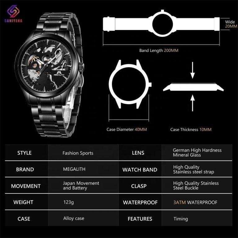 ساعت مچی اتوماتیک عقربه ای مگالیت مدل 8078-BLACK