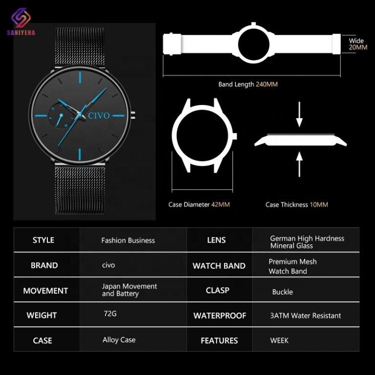 ساعت مچی عقربه ای سیوو مدل bla-8052